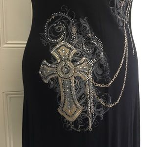 Liberty Wear Dresses - S/S Black cotton knit embellished dress sz L